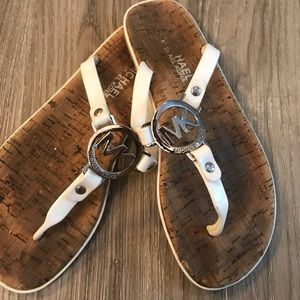 Michael Kors Silver and White Sandals